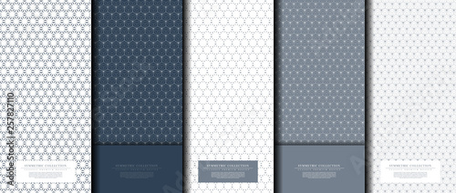 Symmetric collection abstract pattern hexagonal geometic navy background copy-sp Canvas Print
