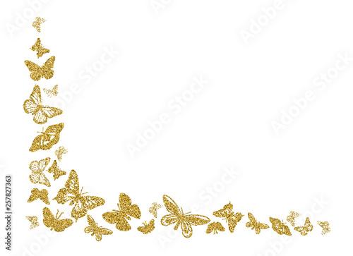 Fotografie, Obraz Golden glitter butterfly silhouettes kite texture in corner on white