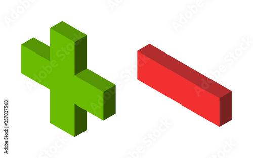 Cuadros en Lienzo Green plus, red minus