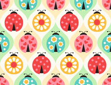 Seamless Ladybugs Cartoon Pattern - Vector