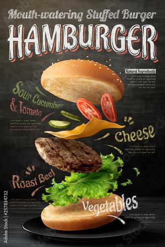 Fototapeta Hamburger poster design obraz