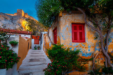 View Of Acropolis From Anafiotika Neighborhood In The Old Town Of Athens, Greece.