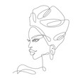 African girl one line drawing