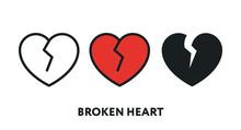 Broken Heart Break Up Divorce Flat Line Vector Icon Set