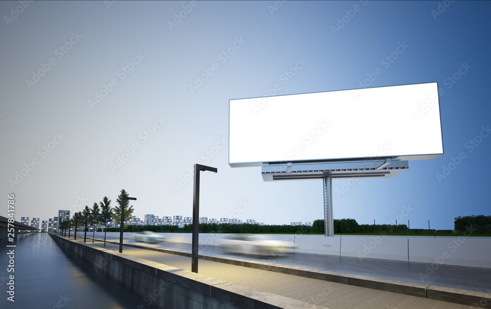 Fototapety, obrazy: billboard mockup on highway