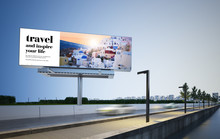 Travel Advertising Billboard Mockup On Highway