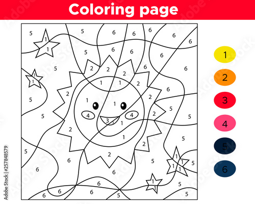 Educational number coloring page. Vector kawaii cartoon sun. Space theme.