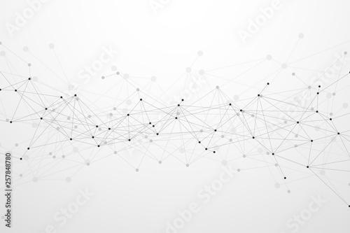 Fototapeta Abstract plexus technology futuristic network background. Vector illustration obraz