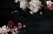 canvas print picture - Beautiful garden flowers. Vintage floral card.