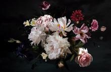 Beautiful Garden Flowers. Floral Card. Vintage.