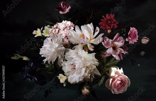 Photo  Beautiful garden flowers. Floral card. Vintage.