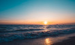 Sunset sky background on the beach summer concept background.