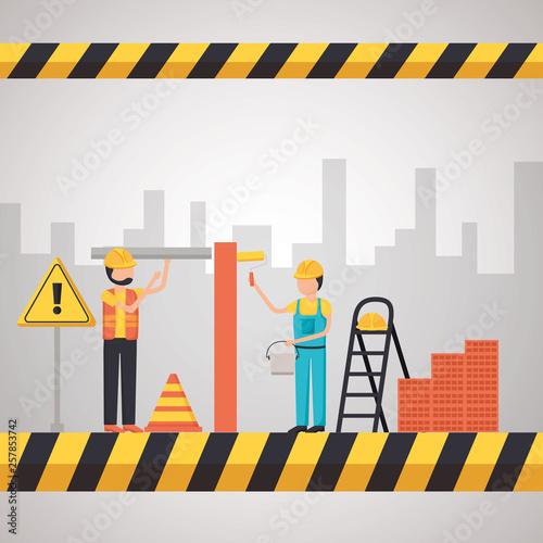 Fototapeta worker construction equipment obraz na płótnie