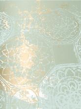 Arabesque Motifs Vintage Gold Pastel Paint Patina Tile