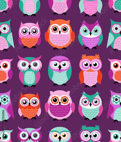 Canvas Prints seamless cute cartoon owls birds pattern background - Vector