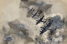 World War Two British Vintage Flight Formation