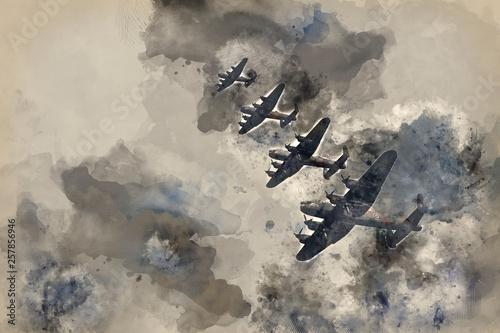 World War Two British vintage flight formation Fototapeta