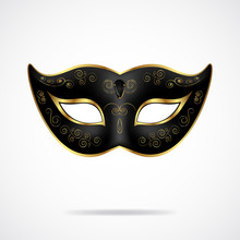 Black Carnival Mask With Gold Ornament Isolated On White