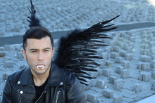 Stylish Ethnic Vampire With Black Wings