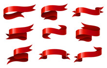 Set Of Red Ribbon On White Background