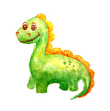A Green Kind Baby Dinosaur Is Smiling And Happy On A White Background In Isolation.