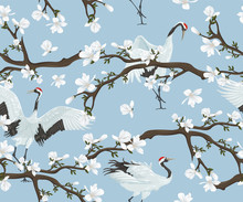 Seamless Pattern With Japanese Cranes And Magnolia