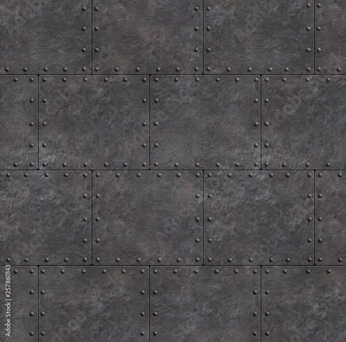 Türaufkleber Schiff armor rustic plates with rivets as metal background 3d illustration