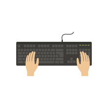 Hands On Computer Keyboard, Working Place With Hands, Top View Vector Illustration On A White Background