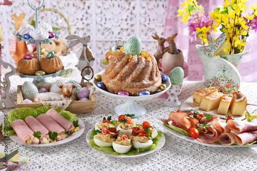 Fotografie, Obraz  traditional easter breakfast on festive table