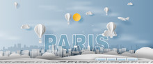 Paper Craft And Cut Of Traveling Holiday Eiffel Tower Paris City France,Travel Holiday Time Transportation Train Landmarks Landscape Concept,Creative Paper Art White Balloon.illustration.vector.