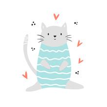Funny Cat Sitting In A Swimmin...