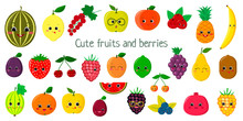 Kawaii Cute Fruit And Berries , The Faces Of The Characters Of The Mega Set Of Twenty Seven Elements. For Your Design Of Cards, Scrapbooking, Crafting. Cartoon, Flat Design, Vector Illustration