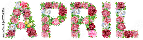 Word April of watercolor flowers for decoration Wallpaper Mural