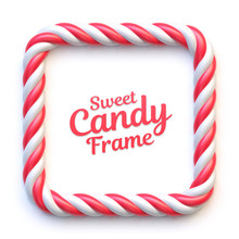 Candy Cane Square Frame On Whi...