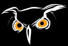 Vector Brown Silhouette Of An Owl On A Black Background.