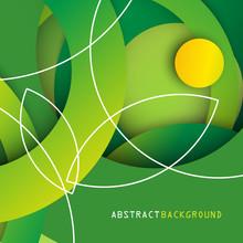 Zielone Koła. Abstrakcyjne Tło Wektor