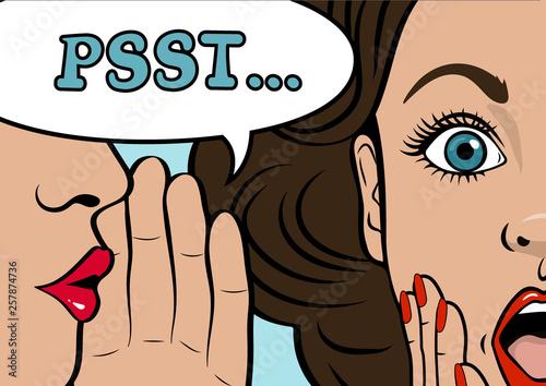 Gossip girl whispering in ear secrets, rumor Wallpaper Mural