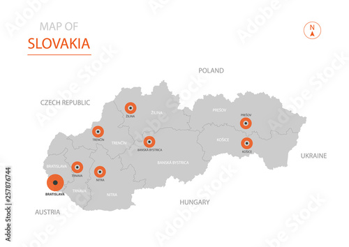 Fototapeta Stylized vector Slovakia map showing big cities, capital Bratislava, administrative divisions