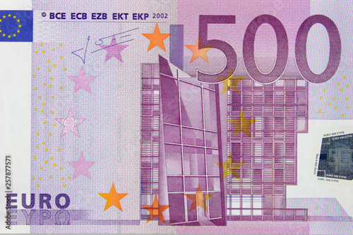 Fotografia  Fragment of a 500 euro banknote close up, background.