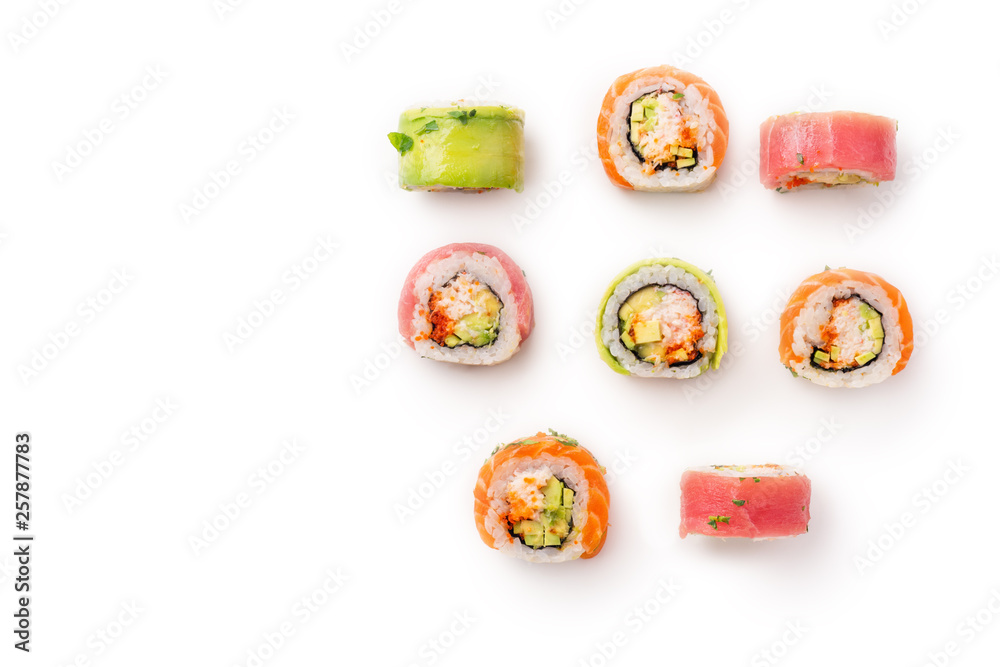 Fototapety, obrazy: Flat lay with colorful sushi rolls with crab meat on white background