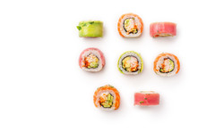 Flat Lay With Colorful Sushi Rolls With Crab Meat On White Background