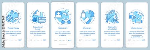 Fotografia  Nursing care onboarding mobile app page screen vector template