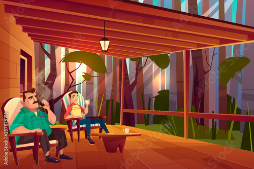 Stampa su Tela Father and son resting on country house veranda cartoon vector