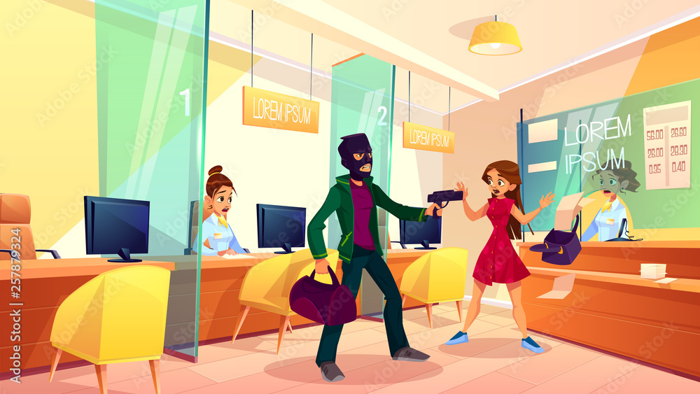 Fototapeta Bank robbery cartoon vector concept. Male robber in face mask with bag in hand, armed pistol, threatening bank employees, scaring female client, demanding money illustration. Crime in public place