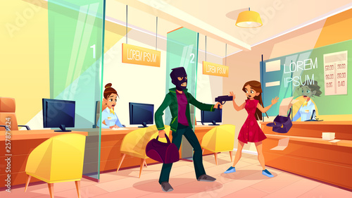 Bank robbery cartoon vector concept Canvas-taulu
