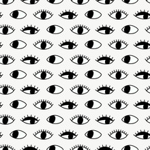 Seamless Pattern With Hand Evil Eye.