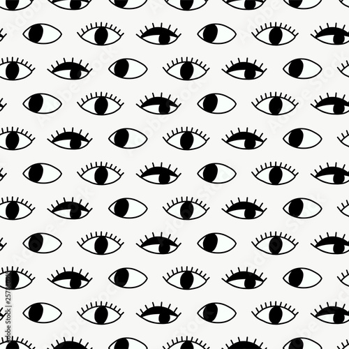 Seamless pattern with hand Evil Eye. Poster Mural XXL