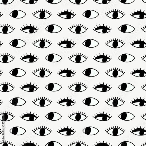 Seamless pattern with hand Evil Eye. Fotobehang