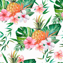 Seamless Pattern, Tropical Pattern With Flowers, Leaves, Pineapples. Watercolor Illustration.