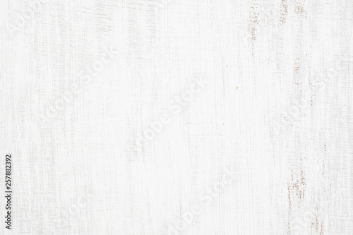 Obraz White painted wood texture seamless rusty grunge background, Scratched white paint on planks of wood wall. - fototapety do salonu